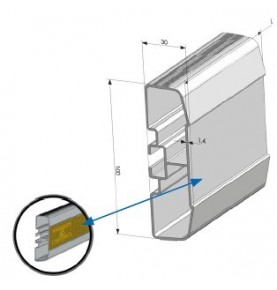 Profil antidérapant alu anodisé 5 000 mm