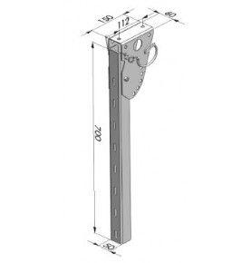 Poteau relevable pour profil pare-cycliste hauteur 700 mm acier zingué