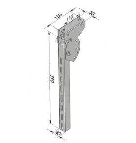 Poteau relevable pour profil pare-cycliste hauteur 590 mm acier zingué