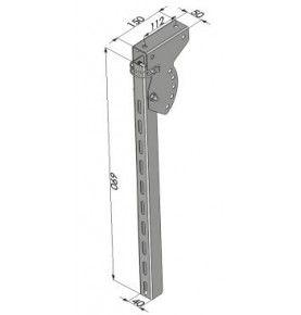 Poteau relevable pour profil pare-cycliste hauteur 690 mm acier zingué