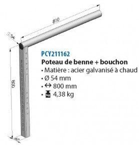 Poteau de benne + Bouchon 800 mm Ø 54