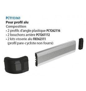 Kit d'embouts simple barre avec profil d'angle plastique pour profil Alu