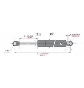 verin gaz 10mm f1150-c200-l485