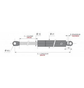 verin gaz 10mm f250-c300-l685