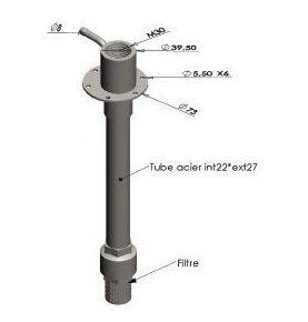 Crémone complète pour tube 26 x 34 mm