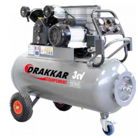 Compresseur à pistons 200L 3CV 230V DRAKKAR